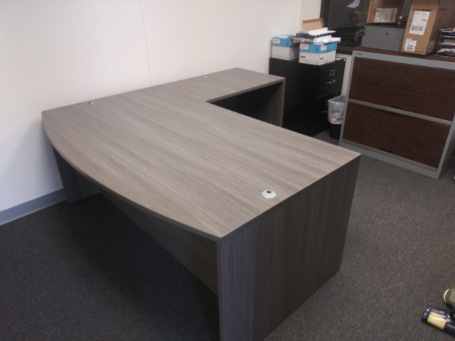 "72""x78"" Bow Front L Desk (no drawers) (Save $50 By Switching Color)"