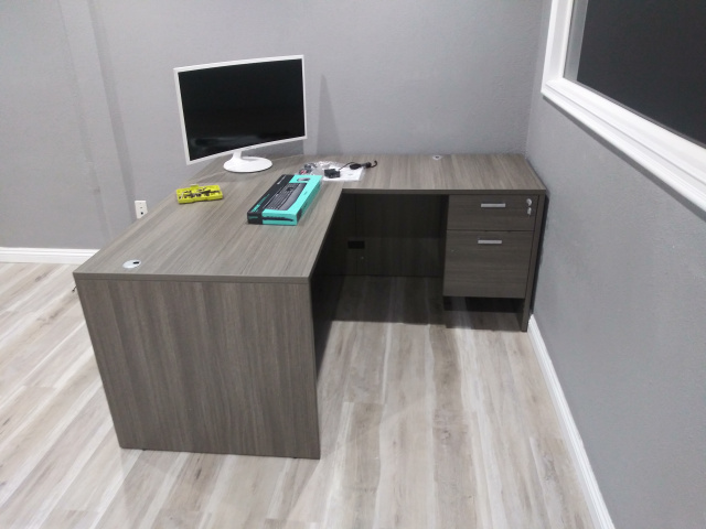 "60""x66"" L Desk With Hanging File Unit"