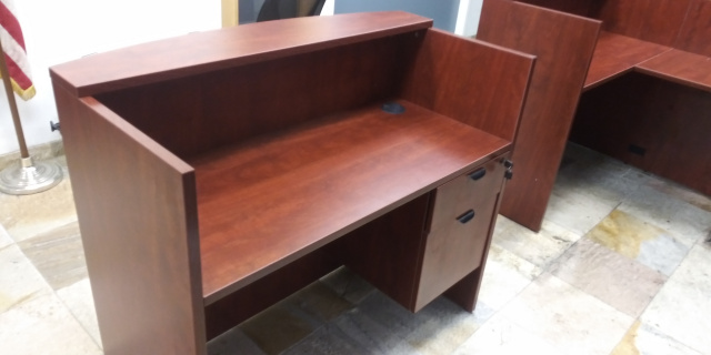 "48""Lx42""Hx26""D Reception Desk With Hanging 2 Drawer File Unit"