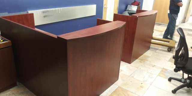 "48"" Front x 72"" Long Reception Desk (no drawers)"