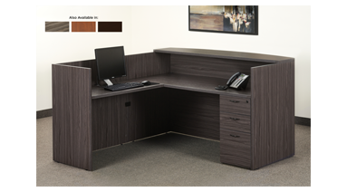 "72""x72"" Reception L Shape With Rounded Transaction Top & 3 Drawer FIle Unit"