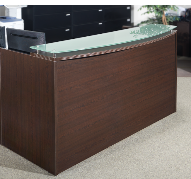 "72""Lx42""Hx30""D Reception Front Only Rounded Top With Glass (no drawers)"