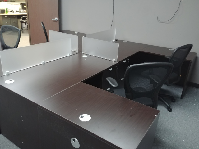 "60""x66"" L Desk With 2 Drawer File Unit (Privacy Glass Sold Separate) (4 Units Shown On Picture)"
