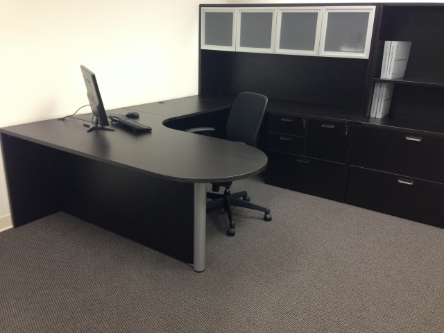 "72""x108"" Curved Bullet U Shape Desk Unit WIth Combo FIle, Glass Hutch Doors, Lateral File & Open Hut"