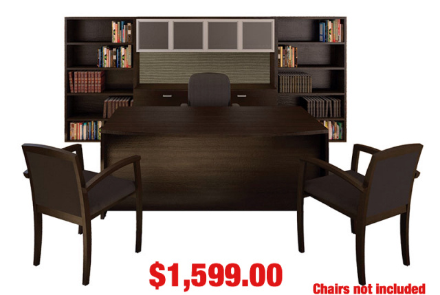 "72""x42"" Bow Front Desk, Duo Lateral File & Hutch With Glass Doors Combo & Side 36""Lx65""H Bookcases"