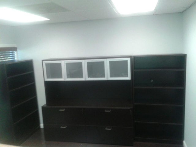 "72""Lx65""H Lateral File x 2 & Hutch With Glass/Aluminum Doors (Bookcases are $209each)"