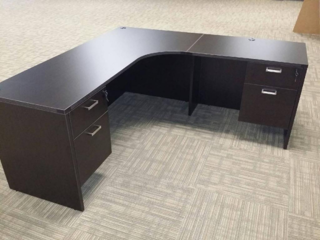 "71""x78"" Right Curved Credenza With 2 Hanging 2 Drawer File Units"