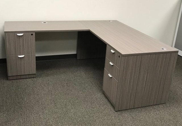 "66""x66"" L Desk With 2 & 3 Drawer File Unit"