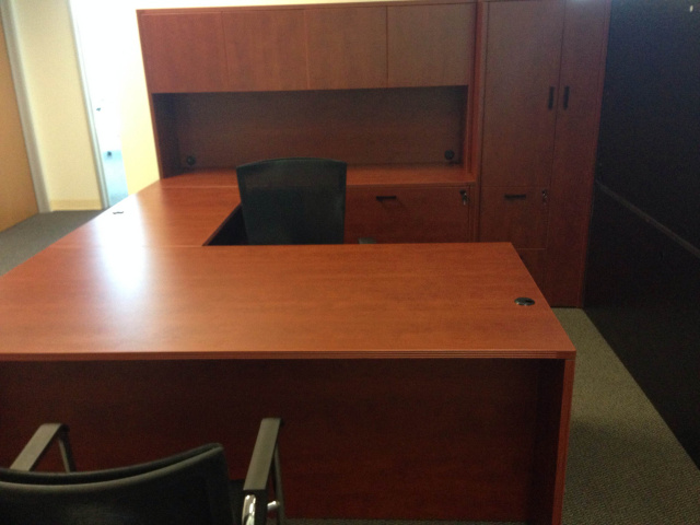 "72""x102"" Straight Front U Desk With Lateral File & Wardrobe Unit"