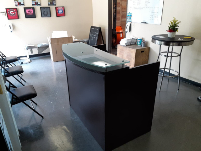 "48""Lx42""Hx26""D Reception Desk With Glass Transaction Top"