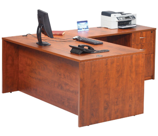 "60""x66"" L Desk With 3 Drawer Deluxe File Unit"