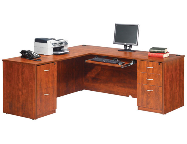 "60""x66"" L Desk Straight Front With 2 Drawer & 3 Drawer File Unit"