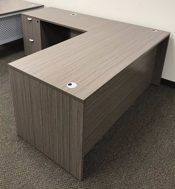 "60""x66"" L Desk With 2 Drawer File Unit"