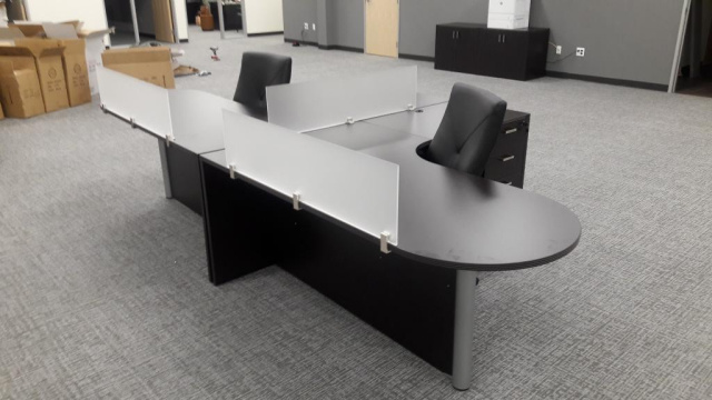 "X2) 72""x78"" LEFT Curved Bullet L Desk With 3 Drawer File Unit & Privacy Glass Combo"