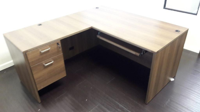 "60""x66"" L Desk Straight Front With Hanging 2 Drawer File & Keyboard Tray"