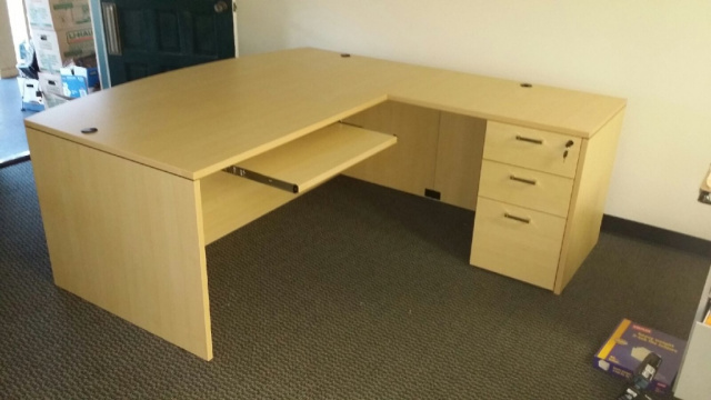 "72""x78"" Bow Front L Desk With 3 Drawer File Unit & Keyboard Tray (Save $50 When You Switch FInishes)"
