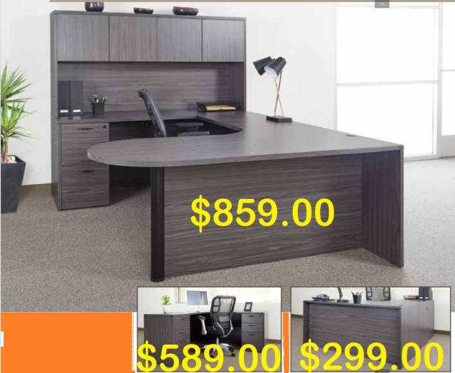 "72""x102"" Curved Bullet U Desk With File Unit (5 Colors)"