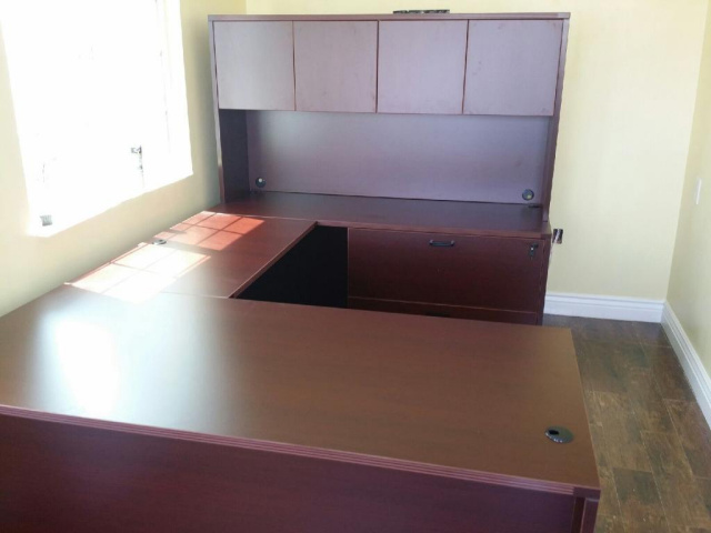 "66""x95"" Straight Front U Shape Desk Unit With 2 Drawer Lateral File"