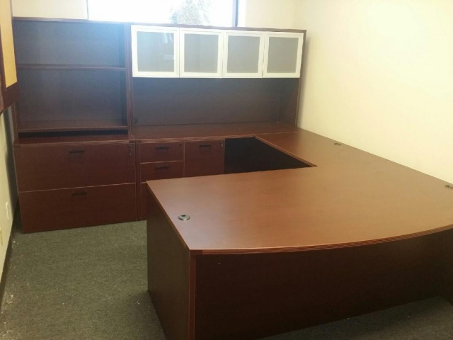 "72""x108"" Bow Front U Shape Desk With Combo File, Lateral File & Open Hutch Combo"