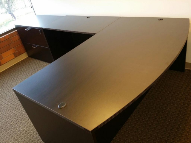 "72""x84"" Bow Front L Desk & 36"" Lateral File"