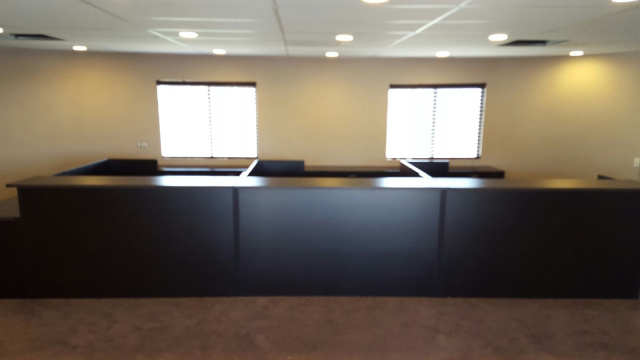 "X3)  72""x72"" Reception Desk L Shape Shell With Rectangular Transaction Top (no drawers)"