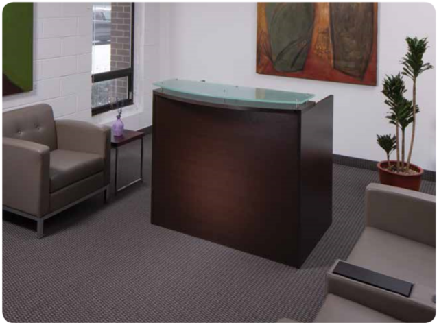 "48""Lx26""Dx41""H Reception Desk With Rounded Transaction Top & Glass Top"