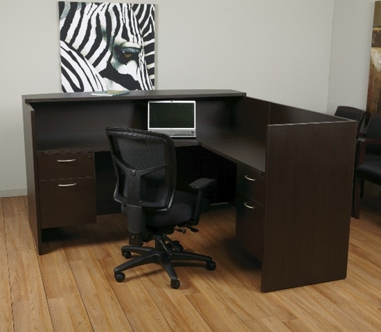 "72""x72"" Reception L Shape With Rounded Transaction Top & 2 Hanging File Units"