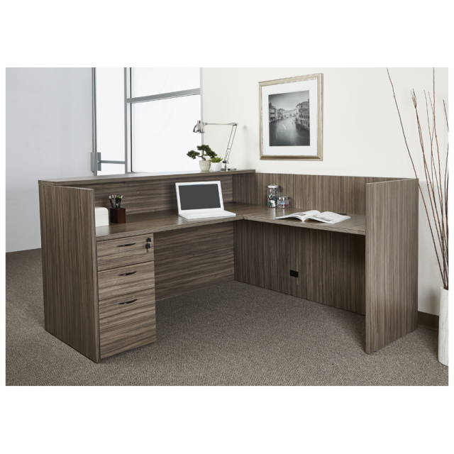 "72""x72"" Reception L Desk With Rounded Top & 3 Drawer File Unit"