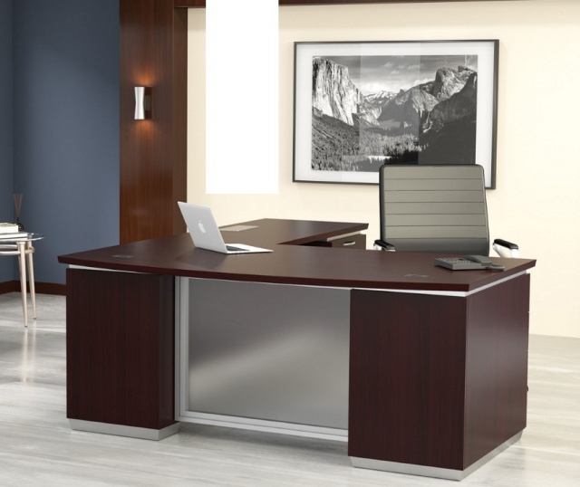 "72""x90"" Tuxedo Bow Front L Shape Desk With 3 Drawer File Unit, 2 Drawer File Unit & Glass Modesty"
