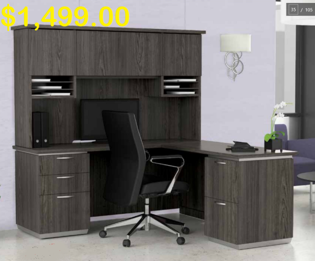 "Tuxedo 72""x72"" L Desk With Hutch & Double File Units  (-$179 if you exclude a File unit)"