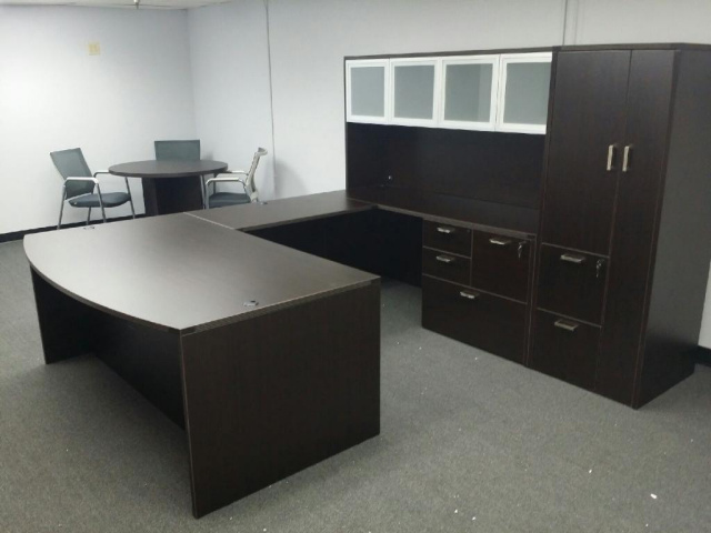 "72""x108"" Bow Front U Shape Desk With Combo File & Wardrobe Unit"