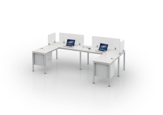 "66""x120"" Simple System U Shape Desk (privacy screen sold separate)"