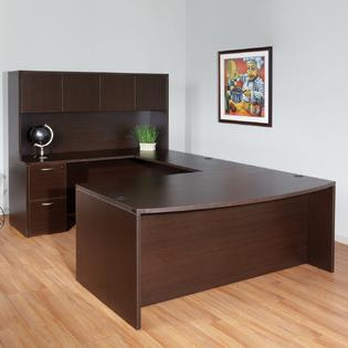 "72""x102"" Bow Front U Desk With Hutch & 2 Drawer File Unit"