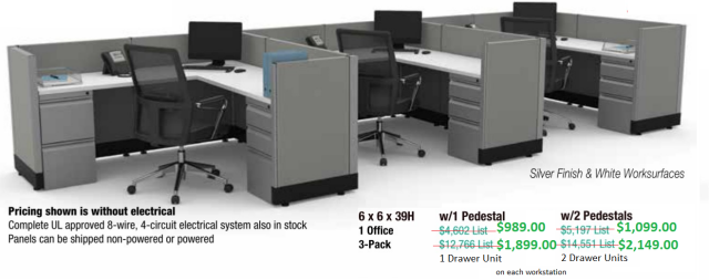 6'x6' Worstation (3 shown on picture) With 1 Pedestal (2nd pedestal available for additoinal charge)