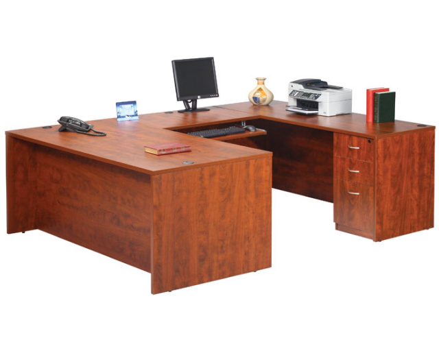 "66""x95"" U Shape Desk With 3 Drawer File Unit & Keyboard Tray"