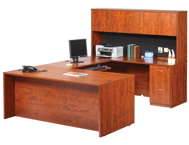 "66""x95"" U Shape Desk With 2 Drawer File Unit, Hutch & Keyboard Tray"