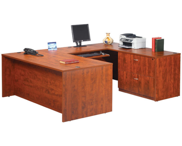 "72""x90"" U Shape Desk With Lateral File & Keyboard Tray"