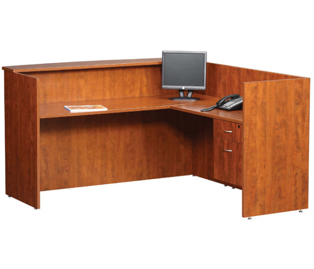 "72""x72"" L Shape Reception Station With Hanging File Unit"