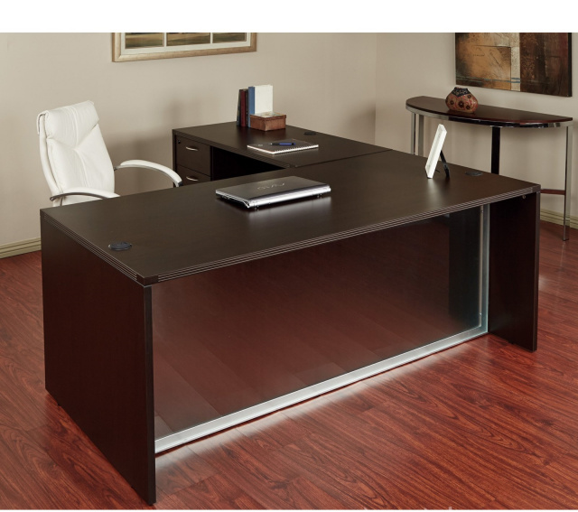 "72""x72"" L Shape Desk With Glass Modesty Panel & Hanging File Unit"