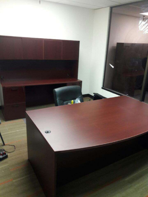 Bow Desk, Credenza With Duo File Units & Hutch