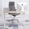 "48""Lx24""D Crank Up Sit To Stand Adjustable Height Desk (Light Oak Top, White Legs)"