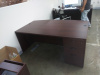"72""x42"" Bow Front Desk Shell & 3 Drawer File Unit"
